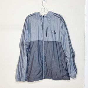 Adidas Hooded Windbreaker Zip Jacket Gray Black